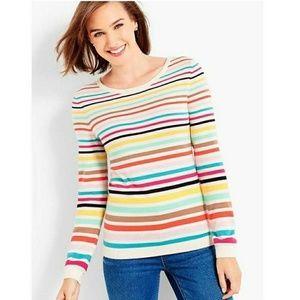 Talbots Rainbow Cashmere Striped Sweater Sz S